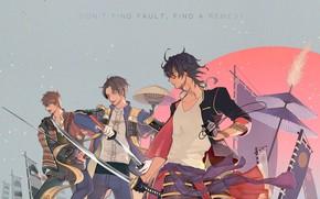 Picture anime, art, guys, samurai, Touken Ranbu, Dance of swords