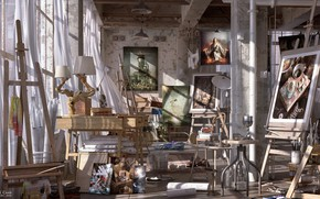 Picture workshop, items, Studio, piling up, ARTISTIC FREEDOM