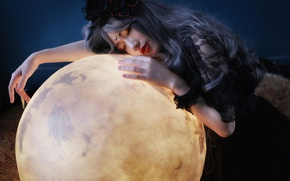 Wallpaper Asian, mood, girl, planet, ball