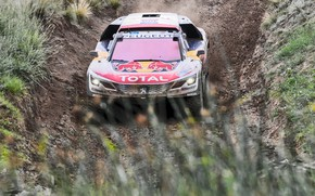 Wallpaper Sport, Speed, Race, Dirt, Peugeot, Lights, Red Bull, Rally, Rally, Sport, DKR, 3008, Silk road, ...