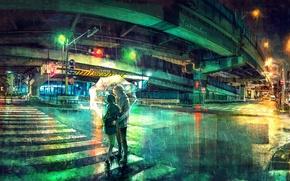 Picture night, bridge, the city, lights, rain, umbrella, crossroads, the transition, two, art, road sign, a …