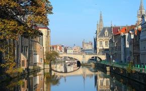 Picture bridge, channel, Belgium, old town, Gent