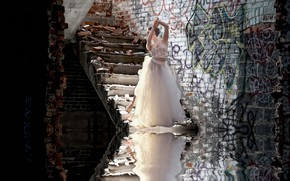 Picture girl, background, stage