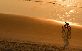 Picture the ocean, shore, sport, the evening, cyclist