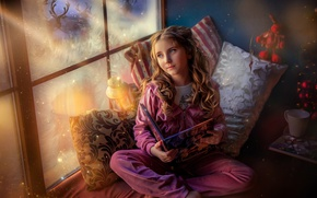 Picture magic, tale, pillow, window, frost, girl, book