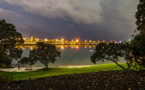 Picture trees, clouds, lights, river, lawn, the evening, New Zealand, lights, promenade, table, Auckland, benches, Mechanics …