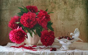 Picture bouquet, cherry, tablecloth, peonies