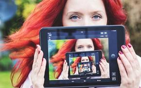 Picture girl, tablet, selfie
