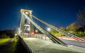 Picture trees, night, bridge, lights, England, lights, Bristol, Clifton Suspension Bridge