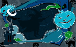 Wallpaper home of the witches, witch, Jack, Halloween, on the broom, night, bats, pumpkins scary, skull, ...