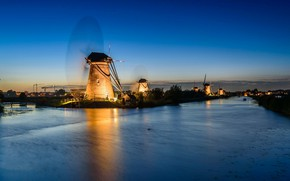 Picture night, lights, channel, Netherlands, windmill, Kinderdijk