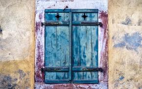 Wallpaper shutters, wall, window