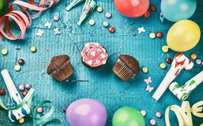 Wallpaper balloons, Happy Birthday, decoration, cupcake, Birthday, holiday celebration, decoration, candy, sweets