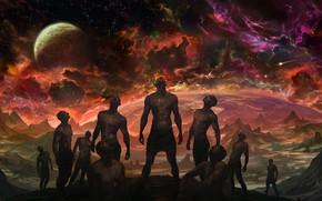 Picture rock, fantasy, sky, alien, rocks, stars, planet, galaxy, humanoids, Noah Bradley