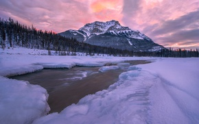 Picture clouds, snow, trees, mountains, river, ice
