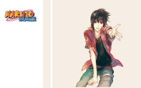 Picture shirt, guy, ninja, Naruto, gesture, Uchiha Sasuke, Naruto shippuuden