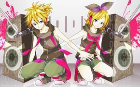 Picture music, anime, art, Vocaloid, Vocaloid, characters, kalonki