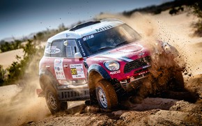 Picture Sand, Red, Auto, Mini, Sport, 307, Rally, SUV, Rally, X-Raid Team, MINI Cooper, X-Raid, X …