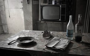 Picture table, TV, newspaper, bottle, weekdays