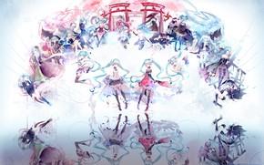 Picture reflection, girls, anime, Vocaloid, Hatsune Miku