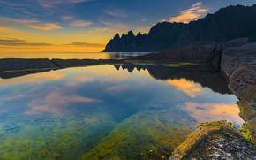 Wallpaper sea, mountains, Norway, Here, Norway, sunset