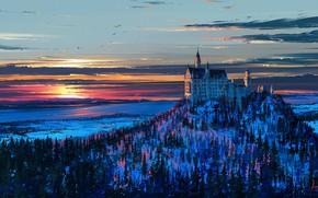 Wallpaper mountain, snow, art, winter, Germany, trees, castle, Neuschwanstein, birds, figure, the sky, Bayern, landscape, sunset