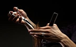 Picture scissors, fingers, comb, hairdresser, stylist