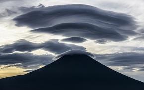 Picture Japan, twilight, Mount Fuji, sky, landscape, nature, sunset, clouds, mountain, evening, dusk, silhouette, Fuji, volcano