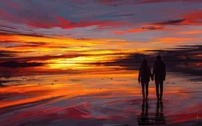 Wallpaper girl, love, twilight, sky, sea, landscape, woman, sunset, night, stars, sun, man, boy, mood, couple, ...