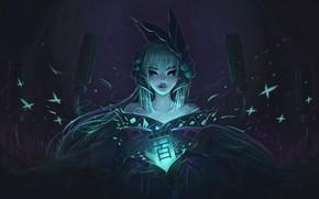 Picture forest, girl, night, spirit, lantern, art, onmyoji, aoandon