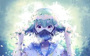 Picture girl, flowers, gas mask, schoolgirl, by lluluchwan