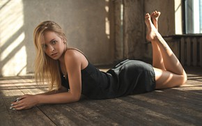 Picture pose, room, makeup, figure, dress, window, hairstyle, blonde, lies, beauty, on the floor, in black