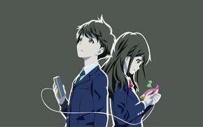 Picture Tsuki ga Kirei, girl, background, guy