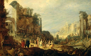 Picture oil, picture, myth, Willem van Nieulandt II, Landscape with Ruins and the Meeting of Rebecca …