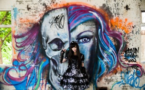 Picture girl, style, wall, graffiti, dress, legs