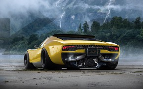 Picture forest, mountains, car, Miuracan, Chunky bull V2