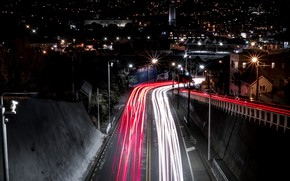 Picture light, road, night