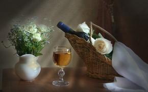 Picture wine, basket, glass, bottle, roses, still life