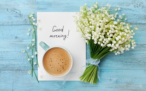 Picture flowers, coffee, bouquet, morning, Cup, lilies of the valley, wood, flowers, cup, Good Morning, coffee, …