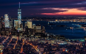 Picture night, the city, lights, the evening, USA, New York