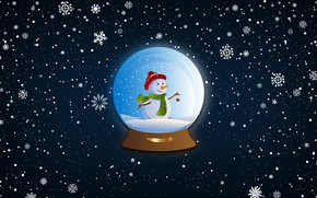 Picture Winter, Minimalism, Snow, Ball, Snowflakes, Background, New year, Holiday, Mood, Snowman, Glass globe