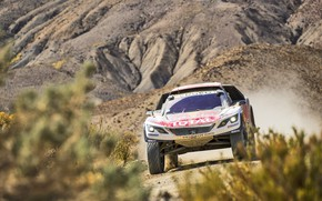 Picture Sport, Speed, Race, Dirt, Peugeot, Lights, Red Bull, Rally, Rally, Sport, The front, DKR, 3008, …