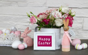 Picture flowers, Easter, happy, flowers, spring, Easter, eggs, decoration, the painted eggs