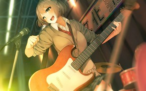 Picture music, guitar, anime, girl