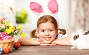 Picture eggs, rabbit, girl, Bunny
