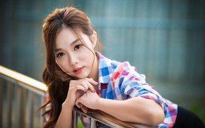 Picture look, girl, hair, shirt, Asian, cutie