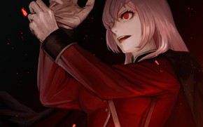 Picture girl, flowers, night, smile, Lily, anime, art, gloves, Berserker, Florence Nightingale, Fate / Grand Order