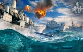 Picture the ocean, war, ships, shot, World Of Warship, Ships, Cruisers