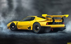 Picture Figure, Yellow, Machine, Ferrari, Art, Art, 365, Rendering, Competition, Yasid Oozeear, Ferrari 365 BB, Ferrari …