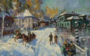 Picture snow, landscape, house, street, picture, sleigh, Konstantin Korovin, Russian Winter